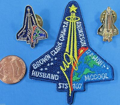 NASA PATCH & 2 PIN LOT '03 vtg STS-107 Space Shuttle COLUMBIA final mission