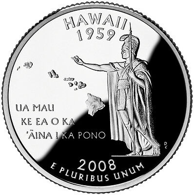 2008 S Silver Gem Proof Hawaii State Quarter 90% Silver