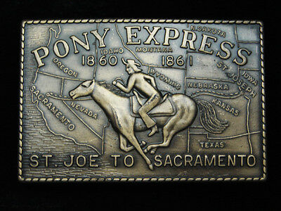QA01151 VINTAGE 1970s **PONY EXPRESS ST. JOE TO SACRAMENTO** BELT BUCKLE