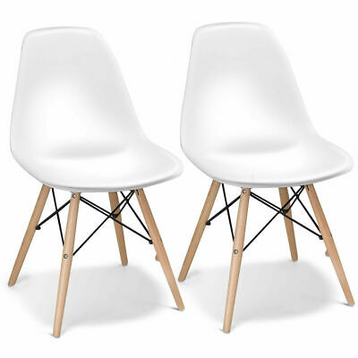 Set of 2 Dining Chairs Mid Century Modern Wooden Legs Kitchen Living Room