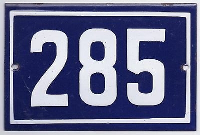 Old blue French house number 285 door gate plate plaque enamel steel metal sign