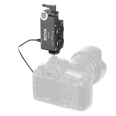 2 Channel XLR to 3.5mm Audio Mixer Adapter Amplifier for DSLR Camcorder LF879