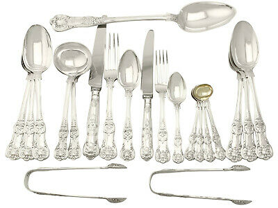 Antique Sterling Silver Canteen of Cutlery for Eighteen Persons - Victorian