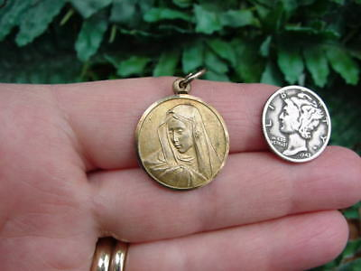 Vintage 800 silver w vermeil - VIRGIN MARY MEDAL - from the Vatican