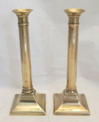 A Good Pair of Early 19th Century Brass Column Candlesticks c1820
