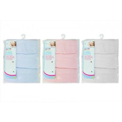 100% Cotton Baby Muslin Squares Cloths Reusable Nappy Bibs Wipes 3 Pack NEW
