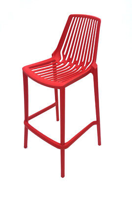 Red Porto Bar Stools, Stacking Bar Stools, Red Stool, Plastic Stools