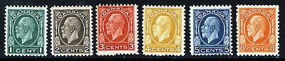 CANADA King George V 1932-1934 The Complete Set SG 319 to SG 324 MINT