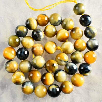 V3342 10mm Golden Blue Tiger Eye Gem Ball Loose Beads 15''