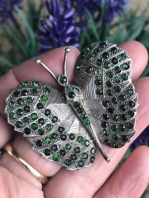 Antique Vintage Heavy Sterling Silver Paste Stone Butterfly Brooch/pin