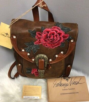 75fa03f4d993 NEW! PATRICIA NASH LEATHER Jovanna Backpack Cognac Euro Western Rose ...