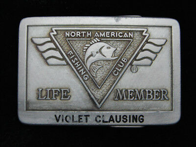 QG23124 VINTAGE 1980s **NORTH AMERICAN FISHING CLUB LIFE MEMBER** BELT BUCKLE