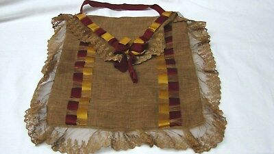 ANTIQUE 1800s BEAUTIFUL FLAX LINEN RIBBON & LACE TRIMMED PURSE BAG