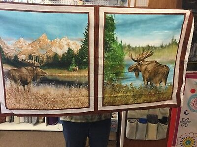 """Moose Pillow Panel 100% cotton Fabric Panel 18"""" wide"""