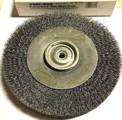 "Black & Decker 8"" Professional Wire Wheel Brush 2"" Arbor Hole USA Made"
