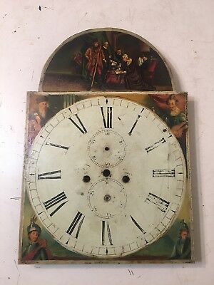 Antique English Tall Case Clock Face dial Painting Queen Mary Abdicating Throne