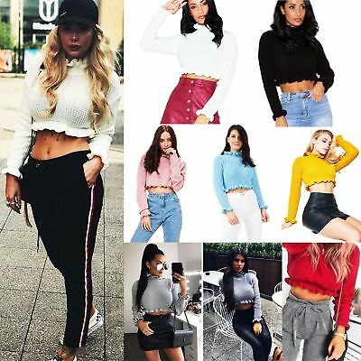823eed5f96f Women Ladies Cropped Knitted Jumper Fashion Ruffle Frill Hem Long Sleeve Top