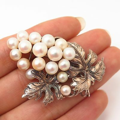 925 Sterling Rose Gold Plated Vintage Real Pearl Grape Cluster Design Pin Brooch
