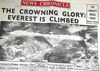 1953 Newspaper Mount Everest Himalayas expedition Challenge Asia Sherpa Old UK