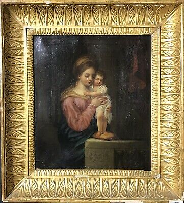 Fine 18Th Century French Old Master Oil - The Madonna & Christ Child Interior