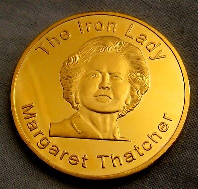 Margaret Thatcher Gold Coin Prime Minister of Great Britian Map Leader England
