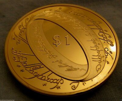 Lord of the Rings Gold Coin Book Adventure Film LOTR Wedding Smaug Trilogy Retro