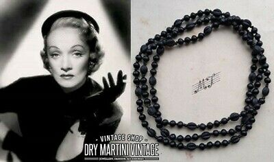 Vintage Art Deco French Jet Satin Glass Carved Beads Long Flapper Necklace