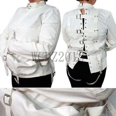 White Body Harness Straight Jacket Halloween Costume Unisex S//M L//XL Armbinder