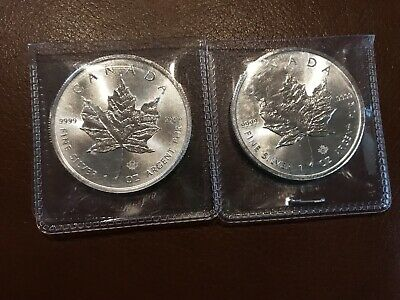 silver canadian maple leaf 1 oz lot of 2  2014 &2017 Free Shipping