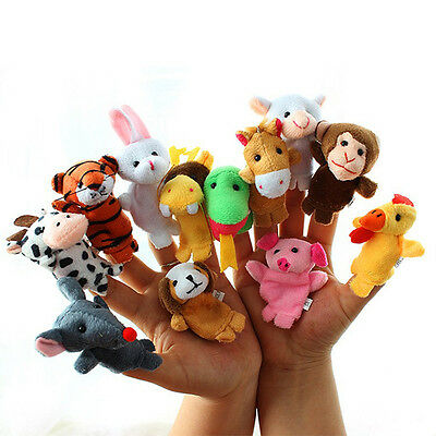 12 Pcs Animal Finger Puppets Cloth Doll Baby Educational Hand Cartoon Funny SALE