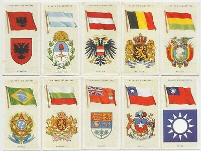 PLAYER, John - 1936 : National Flags And Arms Complete Set (50) Cigarette Cards