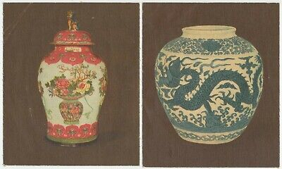 HILL, RJ- 1915: Chinese Pottery-Porcelain (Linen) Cmpl Set (5) P'card Cig. Cards