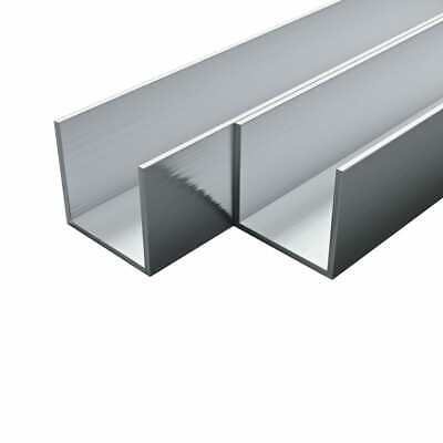 vidaXL 4x Aluminium Channels U Profile 2m 15x15x2mm Tube Extrusion Strip Bar