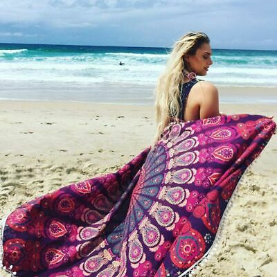 Round Beach Towel Boho Mandala Swimwear Cover Up Bathing Yoga Tapestry Blanket