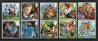 GB Stamps 2015 'Alice in Wonderland' sg3658-67 - U/M