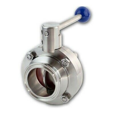 """2"""" Sanitary Stainless Steel 316L Butterfly Valve Tri-Clamp Silicone Sealing"""