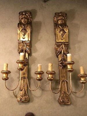 Large Pair Of Antique Gilt Wood Classical,putti cherub Carved Wood Wall Lights
