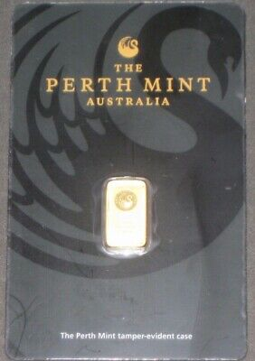 1 gram Perth Mint Gold Bar .9999 Fine (In Assay) Collectible Bars