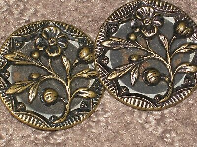 2 Buttons    32 mm / over  1 1/4'' french lot 2 vintage antique bronze