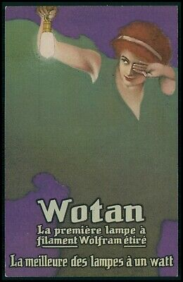 Art Deco advertising Wotan Light Bulbs original old 1910s postcard