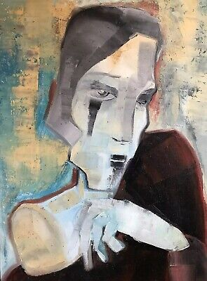 Beatrice Werlie (1974) Large French Abstract Portrait Painting - Cubist Work