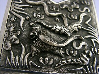 CHINESE EXPORT SOLID SILVER TAPER STICK HOLDER c1900 ANTIQUE FISH