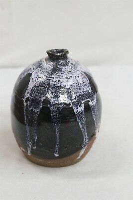 MCM White Purple Drip Over Black Studio Pottery Weed Vase Signed Eames Era