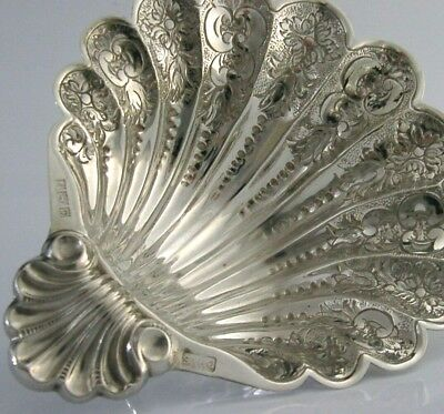 STUNNING HEAVY ENGLISH SOLID STERLING SILVER SCALLOP SHELL DISH 1970 117g