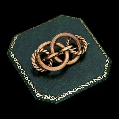 Antique Vintage Georgian 14k Gold Lovers Love Infinity Knot Unisex Pin Brooch