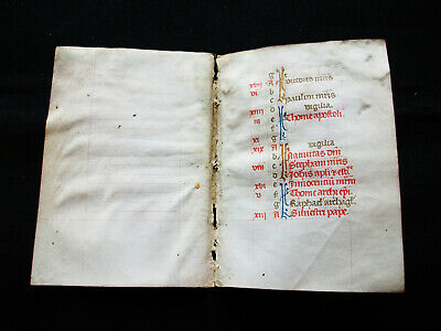 1420 Latin Medieval Double Manuscript on Vellum, Book of Hours, BIFOLIUM...D01