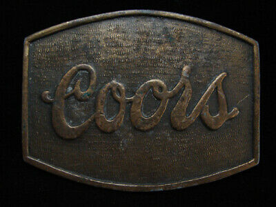 NH01115 VINTAGE 1970s **COORS** BREWING COMPANY BEER/BOOZE BRASSTONE BELT BUCKLE