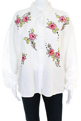 fc860058c8400 Topshop Womens Cotton Embroidered Floral Button Down Shirt White Pink Size 6