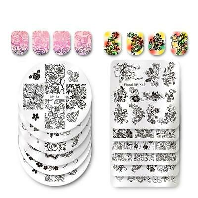 BORN PRETTY Square Nail Art Stamp Template Flower Vine Rose Leaves Floral Image