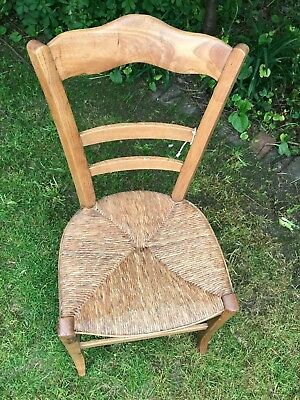 """Stunning Antique Straw Woven Seat Pine Wooden Chair 34"""" Tall"""